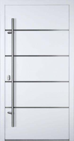 "Aluminium Haustür ""FANNIE"" 90mm (Mit Edelstahlapplikation) RC2"