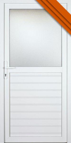 """AKTIONS-Nebeneingangstür """"ANAIS"""" 60mm (100cm(B),210cm(H), Weiß beidseitig, DIN links außen, PVC)"""