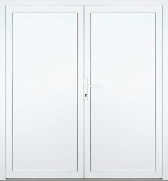 """Kunststoff-Aluminium Nebeneingangstür """"REBECCA"""" 60mm 2-flügelig Doppeltür symmetrisch"""