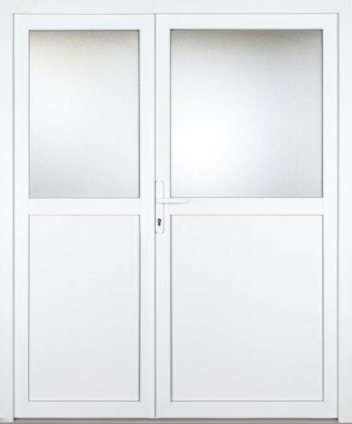 """Kunststoff-Aluminium Nebeneingangstür """"GIULIA 1/2"""" 60mm 2-flügelig Doppeltür asymmetrisch"""