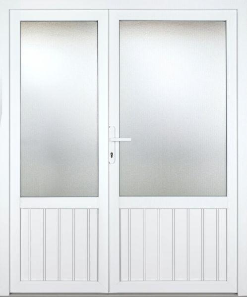 """Kunststoff Nebeneingangstür """"NICOLE"""" 60mm 2-flügelig Doppeltür asymmetrisch"""