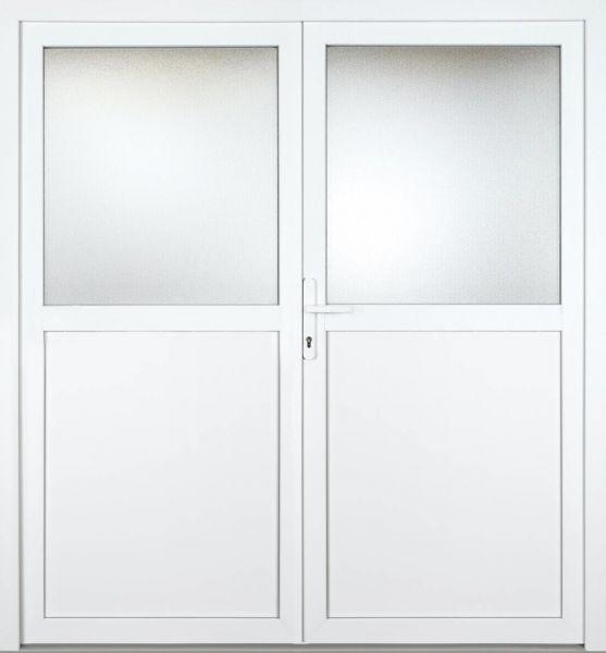 """Kunststoff Nebeneingangstür """"CAILIN 1/2"""" 70mm 2-flügelig Doppeltür symmetrisch"""