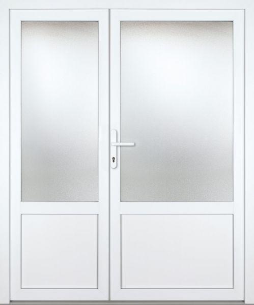 """Kunststoff Nebeneingangstür """"CELINE-M"""" 60mm 2-flügelig Doppeltür asymmetrisch"""