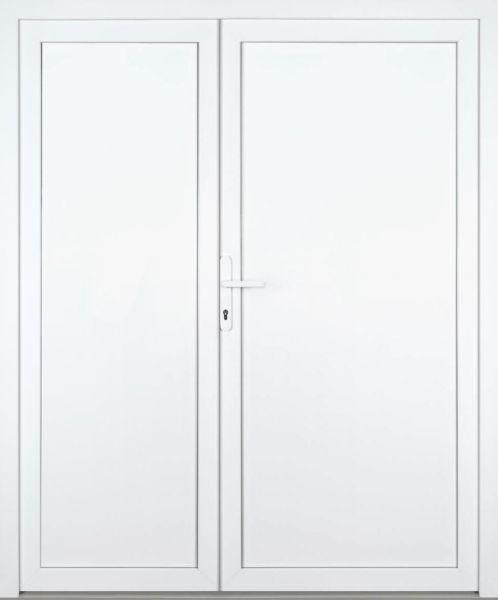 """Nebeneingangstür """"ALINA"""" 60mm (PVC, glatt, 2-flügelig, Doppeltür, asymmetrisch, weiß)"""