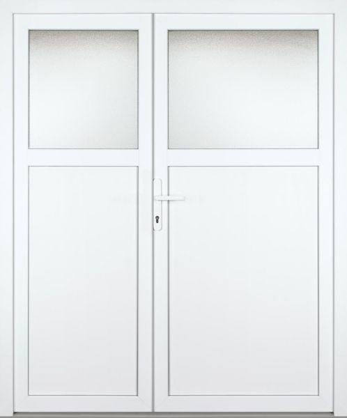 """Kunststoff-Aluminium Nebeneingangstür """"ANTONIA-M"""" 70mm 2-flügelig Doppeltür asymmetrisch"""