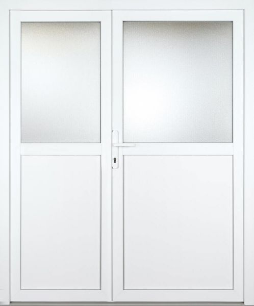"""Kunststoff-Aluminium Nebeneingangstür """"ANASTASIA 1/2"""" 70mm 2-flügelig Doppeltür asymmetrisch"""