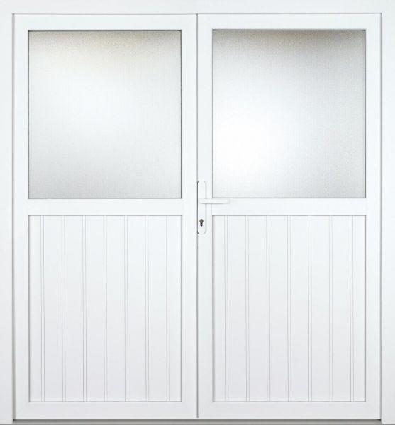 """Nebeneingangstür """"TAMARA 1/2"""" 70mm (genutet, 2-flügelig, Doppeltür, symmetrisch, weiß)"""