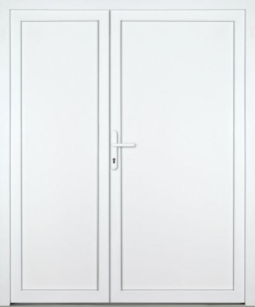 """Kunststoff-Aluminium Nebeneingangstür """"DIANA-M"""" 70mm 2-flügelig Doppeltür asymmetrisch"""