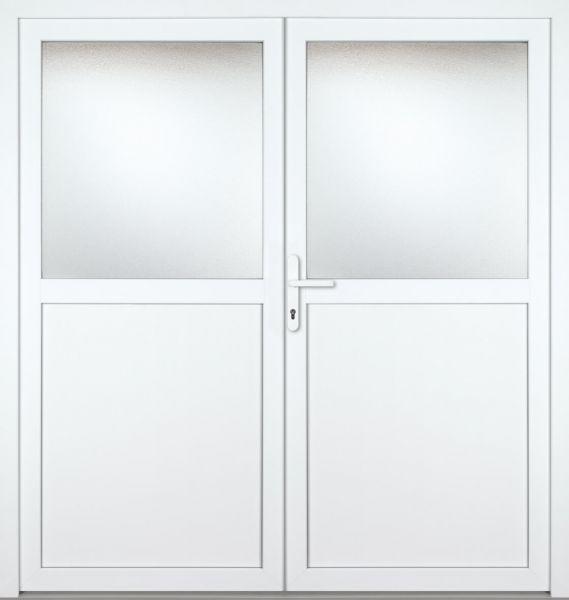 """Kunststoff Nebeneingangstür """"PAULA"""" 70mm 2-flügelig Doppeltür symmetrisch"""