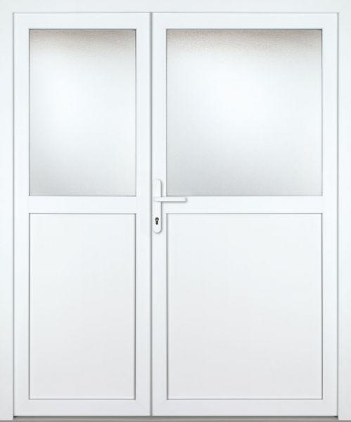 """Kunststoff Nebeneingangstür """"PAULA-M"""" 60mm 2-flügelig Doppeltür asymmetrisch"""