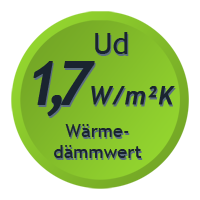 Wärmedämmwert der Tür von 1,7