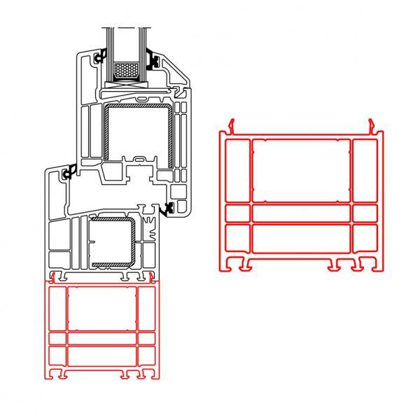 Rahmenverbreiterung für Türen der Stärke 70mm (60 x 70mm) (Flexible Türmontage)