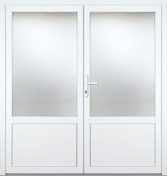 """Kunststoff Nebeneingangstür """"CELINE"""" 60mm 2-flügelig Doppeltür symmetrisch"""