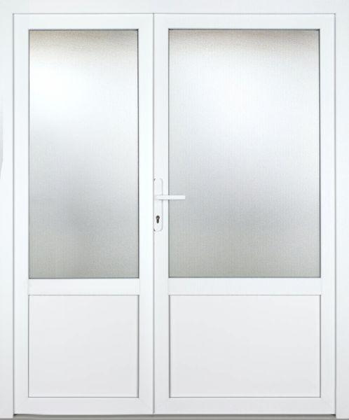 """Kunststoff-Aluminium Nebeneingangstür """"GIULIA 2/3"""" 60mm 2-flügelig Doppeltür asymmetrisch"""
